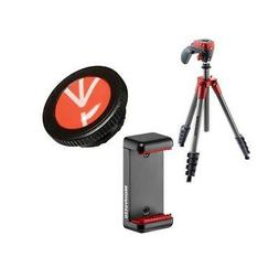 Manfrotto Compact Action Aluminum Tripod, Red W/Release Plat