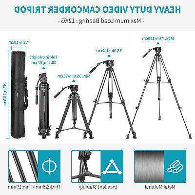Neewer 77 inches Aluminum Alloy Video Tripod with 360 Fluid Head