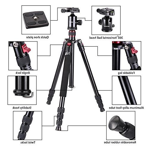 Neewer 64 inches/162 Centimeters Tripod Monopod Degree Quick Shoe Plate and Bag for DSLR Video up 26.5 pounds/12 kilograms
