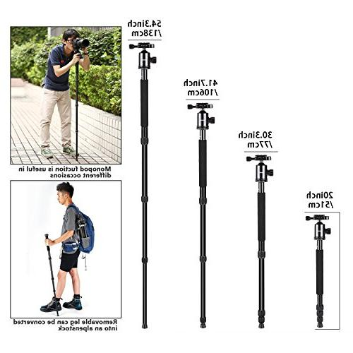 Neewer inches/162 Centimeters Camera Travel Tripod Monopod Degree Quick Plate and Bag for DSLR 26.5