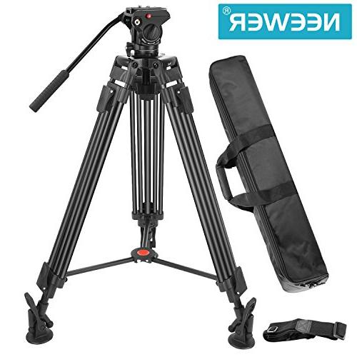 Neewer Professional Heavy Duty Video Tripod,64 inches/163 Centimeters Alloy with 360 Drag Shoe to 17.6 pounds/8