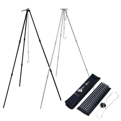new camping cooking tripod outdoor campfire cookware