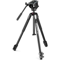 Manfrotto MT190X3 3-Section Aluminum Tripod with MVH500AH Fl