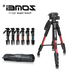 q111 professional aluminum travel tripod and pan